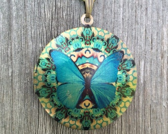 Beautiful Turquoise Morpho Didius Butterfly Vintage Gold Photo Locket w/ Antique Bronze Chain & Bow Charm
