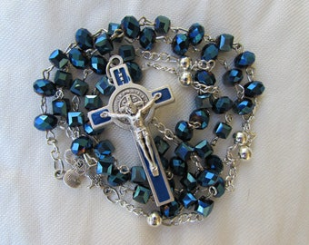 Blue Crystal Rosary 7mm