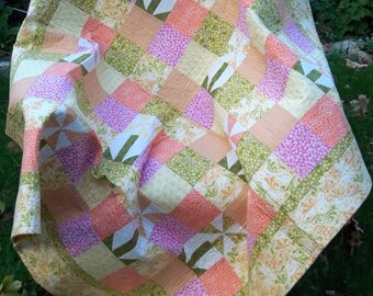 Lap Quilt, Pinwheel Lap Quilt, Girls Quilt, Floral Quilt, Day Bed Quilt, Quilted Throw Blanket