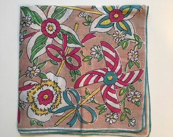 Vintage Handkerchief with Pinwheels Children's Hankie