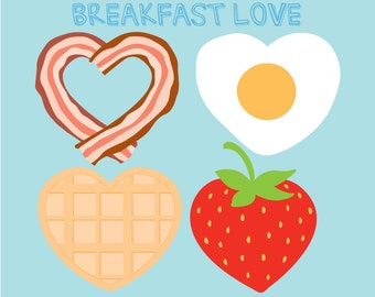 Breakfast Clipart - Bacon Clip Art - Bacon and Eggs Clipart - Breakfast Food Clipart Illustration