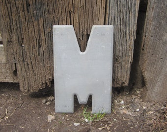 Vintage Sign Metal Letter M Sign Painted Gray Old Marquee Metal Letter Rusty Wall Art Number Art Alphabet  Movie Theater Sign Theatre Sign