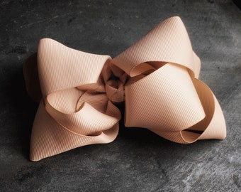 Tan 6 inch Double Stacked Bow
