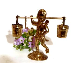 Vintage Brass Figurine, Small Brass Boy, Small Miniature , Old Brass figurine , Small Brass Paperweight, Brass Knick Knack