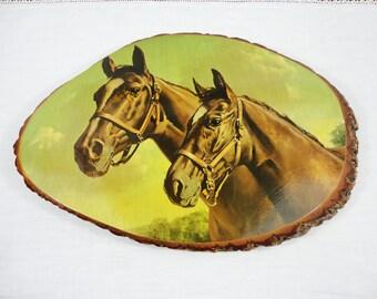 """Tree Slice Horse Picture - Cabin Farmhouse Decor - 16"""" X 11"""""""