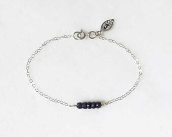 Blue Sapphire Bracelet, September Gemstone, Birthday, Gift, Personalized, One Initial, Sterling Silver, Simple, Bracelet, LIJ 13053