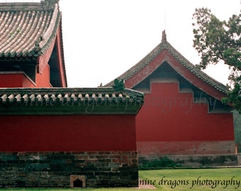 Red Barn Photography, Asian Art, Red Buildings Print, Red Photography, Rustic Landscape Photography, Chinese Architecture, Beijing China