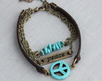 Turquoise Peace Leather Bracelet