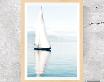 Sailboat, Sailboat Print, Sailboat Poster, Sailboat Photo, Lake Print, Lake Photo, Lake Poster, Mindfulness Print, Zen Art, Instant Download