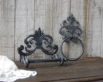 Bathroom Set, Bath Tissue Holder, Towel Ring, Shabby Chic, Black, Hand Painted, Cast Iron, Toilet Paper Holder, French Decor, Bathroom Decor