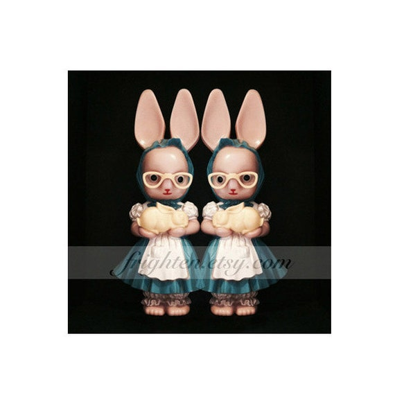 Creepy Twins Weird Easter Art Pink Vintage Plastic Bunny