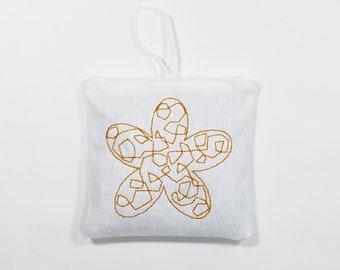 Lavender Sachet: Flower Embroidery - Black and Orange - 2 Pack