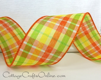 """Wired Ribbon, 2 1/2"""" wide, Orange, Yellow, Lime Green Check Plaid - THREE YARDS - Offray """"Citrus Tartan"""", Spring, Fall, Wire Edged Ribbon"""
