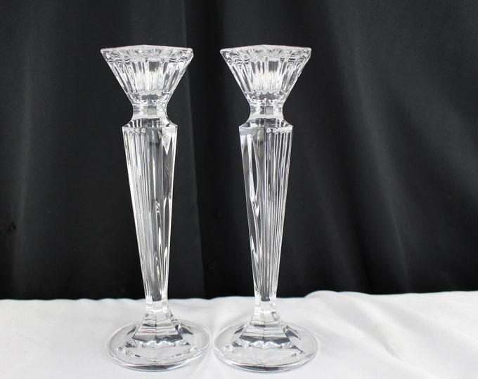 Pair of Marquis Waterford Crystal Candle Stick Holders-Vintage Candlestick Home Decor Glass