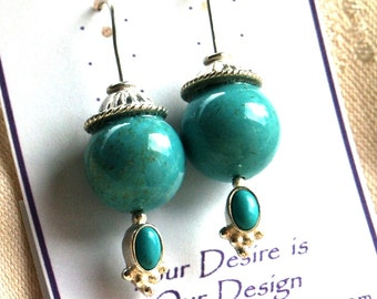 Stacker Style Sterling Silver Hand Formed Earrings in Turquoise with Silver Caps