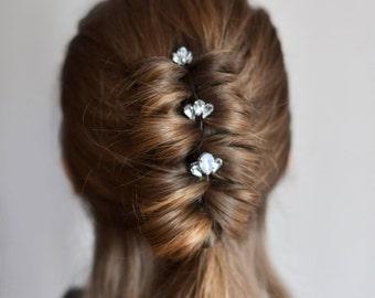Wedding set 3 hairpins Bridal rhinestone silver headpiece Bridal rhinestone hair pins Wedding crystal head piece Hairpiece set Prom hairpins