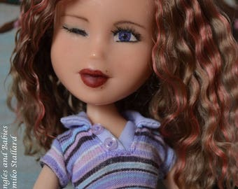 Winking Bratz repaint, reroot, faceup, repairs, doll repaint, curly hair, pink highlights unique expression violet eyes
