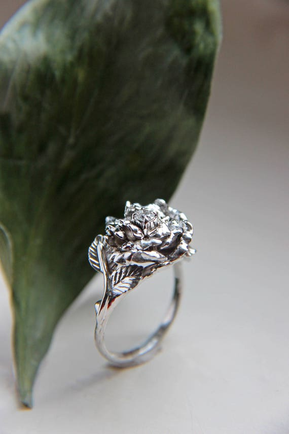 Rose ring, diamond ring, white gold ring, engagement ring, flower engagement ring, proposal ring, romantic ring, flower ring, floral jewelry
