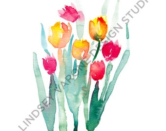 PRINT ONLY, 8.5x11 Tulips, Flowers, Floral Watercolor Painting