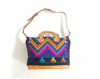Vintage Leather Shoulder Bag Carry on Carry All Travel Bag Pouch Sack Colorful Ethnic Purse Duffel Crossbody Overnight Bag Bohemian Hippie
