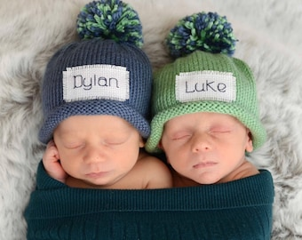 Personalized Knit Newborn Baby Girl Baby Boy or Preemie Newborn Baby Hats, free monogrammed name Make a great NEW BABY HOSPITAL Gift