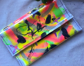 Colourful Handpainted Plastic Clutch Purse Handmade Sustainable Gift Bag