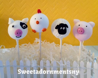 12 FARM ANIMAL Cake Pops for Barnyard  Party, Barn Party,Old McDonald Party.