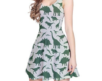 Army Green Reversible Sleeveless Party Dress Onepiece with Dinosaur Painting Design (Jurassic Park Edition)