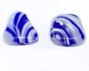 White & Blue Fused Art Glass Cabochons