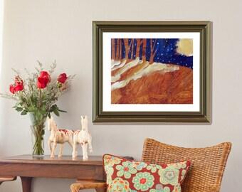 "interior decor - ""Moon Shadow"" - giclée print - living room - wall art"