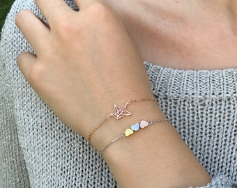 Heart Ladies bracelet made of silver, gold and rose gold to match any outfit and occasion, put on bracelets from 925 sterling silver