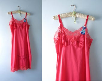 Vintage Red Slip | 1960s Top Form Red Slip Size M Deadstock