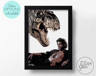 JURASSIC PARK - Dr Ian Malcolm Seduces A T-Rex - Jeff Goldblum - Black & White/Colour - Hand-Drawn Film Art Print/ Movie Poster