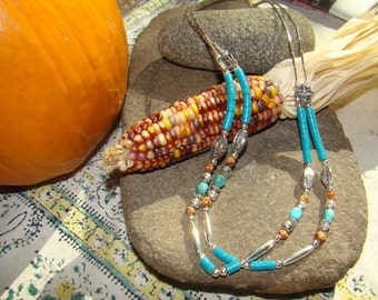 Turquoise Necklace Native Heishi Sterling Silver Beaded