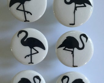 "SALE15 flamingos silhouettes drawer knobs 1.5"" set of 6"