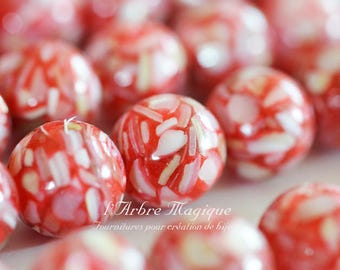 4 resin inclusion of pearls red round beads
