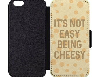It's Not Easy Being Cheesy Print Leather Flip Wallet Case Apple iPhone 4 5 5S SE 6 6S 7 7S 8 8S X Plus