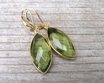 Bezel Set Green Amethyst Earrings, February Birthstone Jewelry, 14K Gold Filled, Green Dangle Long Earrings