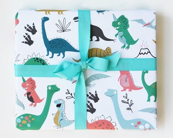 Wrapping Paper Dinosaur Gift Wrap - Birthday wrapping paper for boys and girls