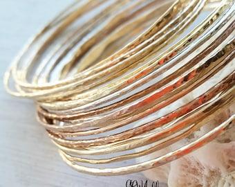 Handmade bangle sets, bangle set sterling silver, minimalist bangles, hammered bangles, hammered bangle bracelets, stacking bangle bracelets