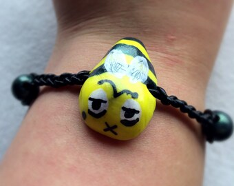 Zom-BEE/Zombie Bee Polymer Clay Bracelet - Braided Leather