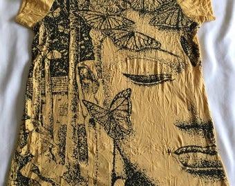 Women's Buddha T-shirt in Yellow, Hippie t-shirt, Yoga wear, meditation, hipster, festival clothing, spiritual clothing, tribal, hippie chic