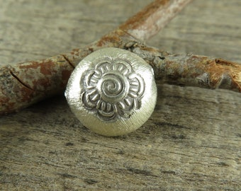 Hill Tribe Fine Silver Floral Focal Beads - QUANTITY DISCOUNT - 10 Beads -  Bohemian Jewelry Supplies - Thai Silver Beads - TBD110Q