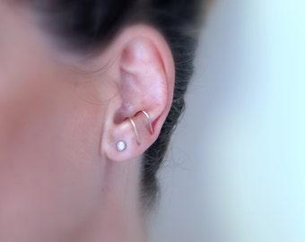Thin suspender earring, 14k Goldfilled ear suspender SINGLE  earring, Delicate suspender earring for her, Minimalist earring