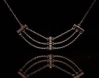 1/4 Carat Diamond and Sterling Silver Bar Necklace