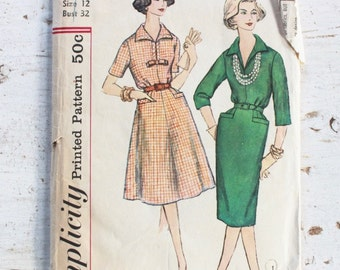 1950s dress pattern / Simplicity 3121 / 1950s day dress w/ pockets / 1950s sewing pattern / bust 32""