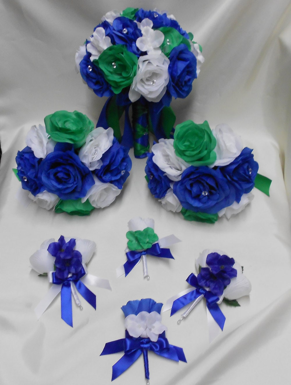 Silk flower wedding bridal bouquets royal blue emerald green zoom izmirmasajfo Images