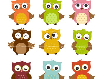 9 cute owls clipart pink owls baby pink and grey owls baby rh etsy com