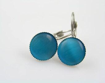Blue Cats Eye Cabochon Earrings, Blue Earrings, Small Earrings, Lever Back Earrings, Leverback Ear Wires, Affordable Jewelry, E1554