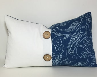 White & dark blue PILLOW COVER. Blue white button colorblock pillow cover, coconut button pleat accent. linen embellished throw pillows